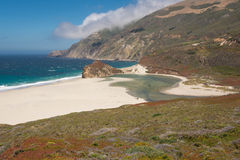 Plage blanche de sable, Big Sur Photos stock