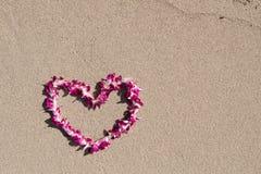 Plage blanche de sable d'orchidée de guirlande en forme de coeur de fleur Images libres de droits