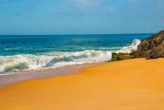 Plage br?silienne avec la mer ? sable jaune et bleue par temps ensoleill? brazil salvador beau chiffre dimensionnel illustration  photo libre de droits