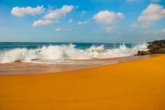 Plage br?silienne avec la mer ? sable jaune et bleue par temps ensoleill? brazil salvador beau chiffre dimensionnel illustration  images libres de droits