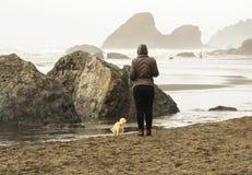 Plage brumeuse avec de grandes roches faisant saillie hors de l'eau - une femme et une sa fin de chien et une manière différente  photographie stock