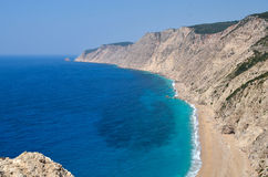 Plage célèbre d'AMOs chez Kefalonia Grèce Photo libre de droits