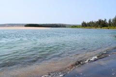 Plage calme d'articles avec l'eau bleue propre, des arbres et une île Image libre de droits