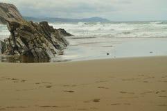 Plage composée de disques de fossile avec des formations du type de flysch de l'UNESCO Basque paléocène d'itinéraire de Geopark J Photographie stock