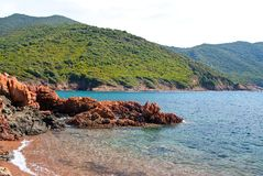 Plage at Corsica. Plage along the pedestrian road to the Girolata bay Royalty Free Stock Photos