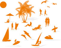Plage d'été de silhouette Photo libre de droits