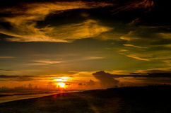 Plage d'île de Sanibel au coucher du soleil image libre de droits