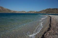 Plage d'Agios Pablos, Amorgos, Cyclades, Grèce Photo libre de droits