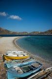 Plage d'Agios Pablos, Amorgos, Cyclades, Grèce Photos stock