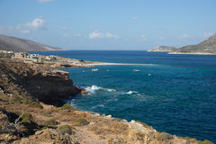 Plage d'Agios Pablos, Amorgos, Cyclades, Grèce Photos libres de droits