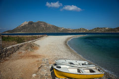 Plage d'Agios Pablos, Amorgos, Cyclades, Grèce Photographie stock