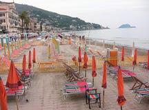 Plage d'Alassio, Italie Photographie stock libre de droits