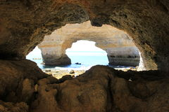 Plage d'Algarve Carvoeiro Photos libres de droits