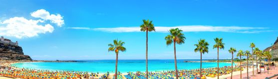 Plage d'Amadores Mamie Canaria, Îles Canaries, Espagne image stock