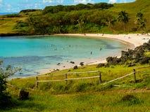 Plage d'Anakena en île de Pâques Photo stock