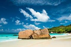 Plage d'Anse Latium, île de Praslin, Seychelles photo libre de droits
