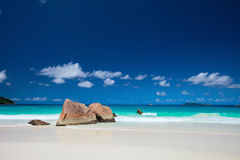 Plage d'Anse Latium en Seychelles Photo libre de droits