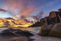 Plage d'Anse Source de Argent sur les Seychelles Image libre de droits