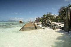 Plage d'Argent de source d'Anse, île de Digue de La, Seychelles Photographie stock