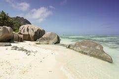 Plage d'Argent de source d'Anse, île de Digue de La, Seychelles Photos libres de droits