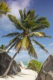 Plage d'Argent de source d'Anse, île de Digue de La, Seychelles Image stock