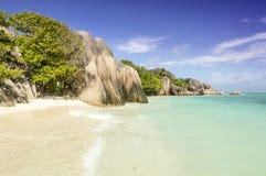 Plage d'Argent de source d'Anse, île de Digue de La, Seychelles Image libre de droits