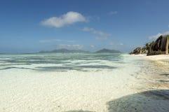 Plage d'Argent de source d'Anse, île de Digue de La, Seychelles Images libres de droits