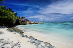 Plage d'Argent de source d'Anse Photos stock