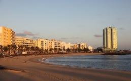 Plage d'Arrecife, Lanzarote Photographie stock libre de droits