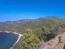 Plage d'Aselinos, Skiathos, Grèce image libre de droits