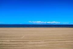 Plage d'Ayr et l'île d'Arran Image libre de droits