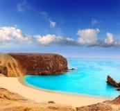 Plage d'EL Papagayo Playa de Lanzarote dans les Canaries Image stock