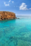 Plage d'EL Papagayo Playa de Lanzarote dans les Canaries Photo stock