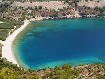 Plage d'Elinda Chios - en Grèce Photographie stock libre de droits