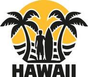 Plage d'Hawaï avec les paumes et le surfer illustration stock