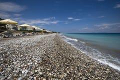 Plage d'Ialysos Île de Rhodes, Grèce Photos stock