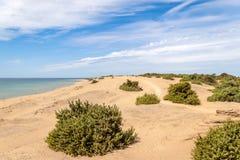 Plage d'Issos avec de grandes dunes de sable sur l'île de Corfou image stock