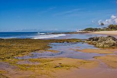 Plage d'Itapua avec le ciel bleu avec des nuages, Salvador, Bahia, Brésil photos libres de droits