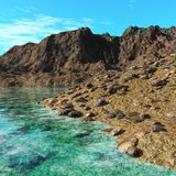 Plage d'or, paysage marin, plage rocheuse Photographie stock