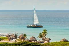 Plage dans Aruba Images libres de droits