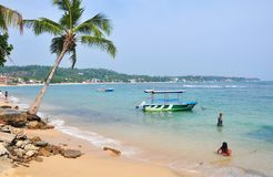Plage dans Hikkaduwa, Sri Lanka Photographie stock libre de droits