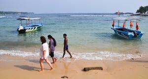 Plage dans Hikkaduwa, Sri Lanka Photo libre de droits