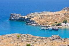 Plage dans Lindos, Rhodes Image libre de droits