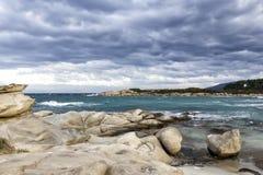 Plage de baie de paradis, archipel intact d'abrégé sur nature en mer photos stock