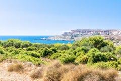 Plage de baie de Tuffieha, Malte Image libre de droits