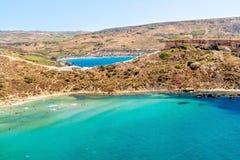 Plage de baie de Tuffieha, Malte Photographie stock libre de droits