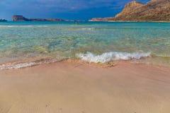 Plage de Balos et lagune, préfecture de Chania, Crète occidentale, Grèce Photos stock