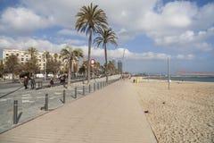 Plage de Barceloneta et de promenade maritimes, Barcelone Photographie stock