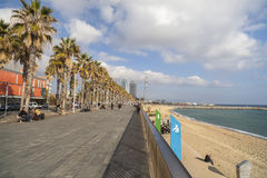 Plage de Barceloneta et de promenade maritimes, Barcelone Images libres de droits