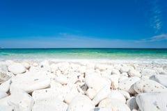 Plage de Bianco de capo, île d'Île d'Elbe. Photographie stock libre de droits